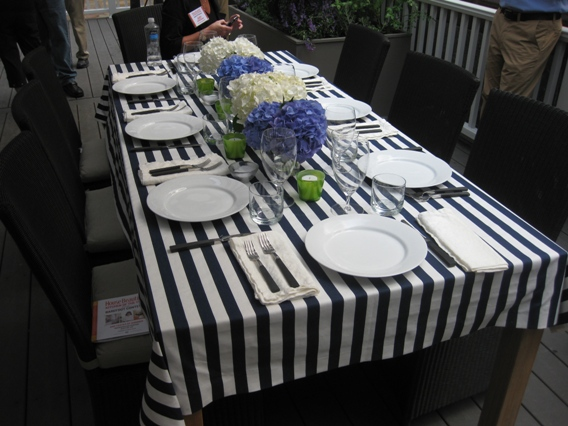 Table setting. Clean simple and elegant. Most of the tableware is from Crate and Barrel. Hydrangeas down the middle of the table in classic Ina colors. & Inside Ina Gartenu0027s Barn u2013
