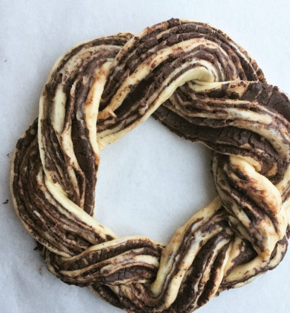 chocolate orange babka wreath